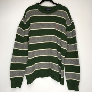 ceb23a93ce American Eagle Outfitters Sweaters - AE Mens Large Rugby Stripe Wool Sweater  Green Gray